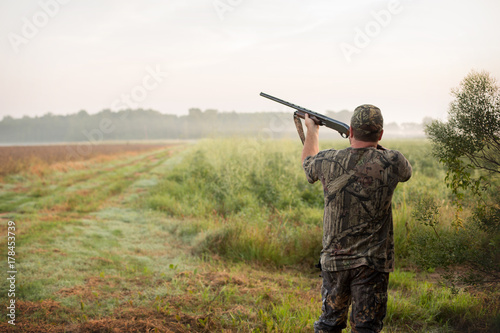Aluminium Prints Hunting Dove Hunter in a Louisiana Field