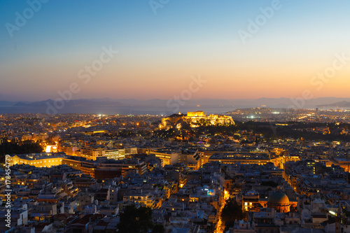 Canvas Prints Athens Acropolis with Parthenon at night, Athens, Greece, view from Lycabettus Hill