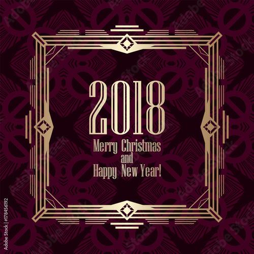 Fototapeta 2018 New Year greeting card in art deco golden style. Template for design. Vector illustration eps10 obraz na płótnie
