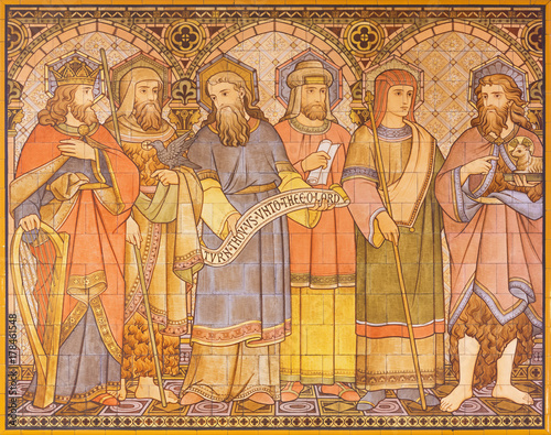 LONDON, GREAT BRITAIN - SEPTEMBER 15, 2017: The tiled mosaic of Old Testament patriarchs and person in church All Saints designed by Butterfield and painted by Alexander Gibbs (1873) Canvas Print