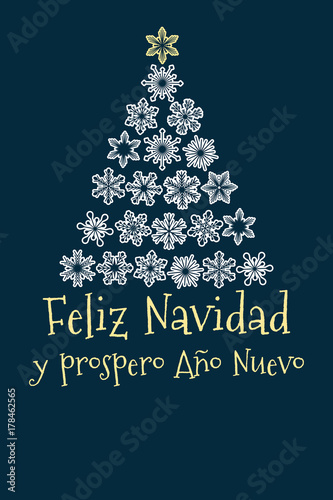 vector christmas tree created from snowflakes with spanish text merry christmas and happy new year