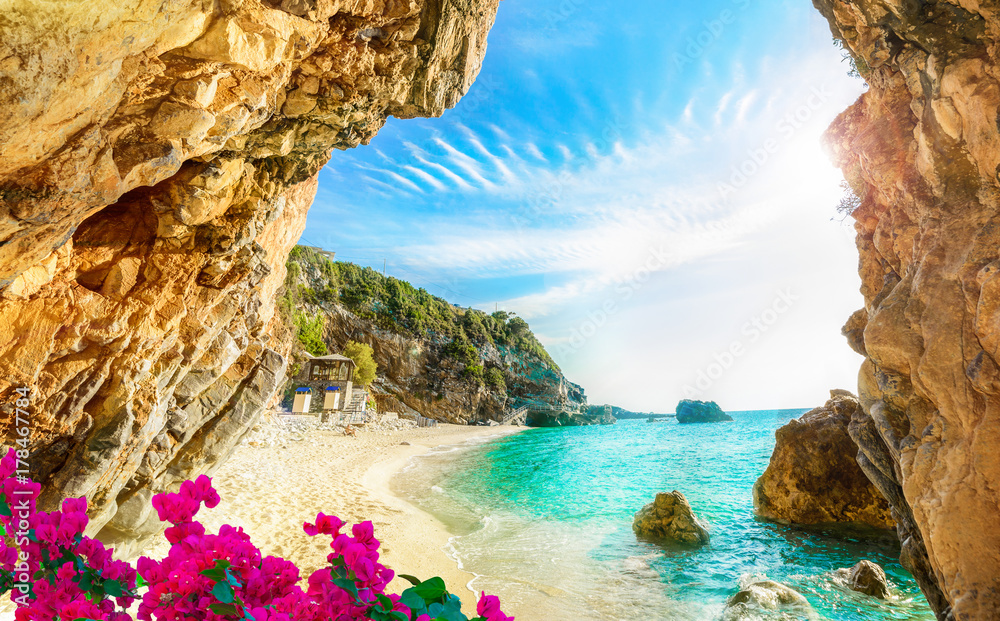 Fototapeta Beautiful view over the beach in Corfu, Pelion, Mylopotamos - Greece