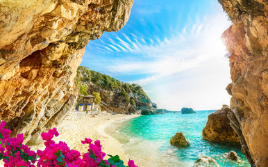 Beautiful view over the beach in Corfu, Pelion, Mylopotamos - Greece
