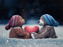 Plush Bears With A Heart In Paws In The Falling Snow