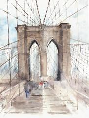 Fototapeta Mosty Brooklyn bridge NYC architecture landmark touristic place vacation destination watercolor illustration painting