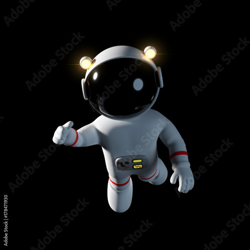 cute cartoon astronaut character in white space suit is floating in