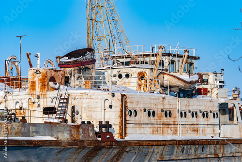 Photo Stands Shipwreck Rusty abandoned river ships
