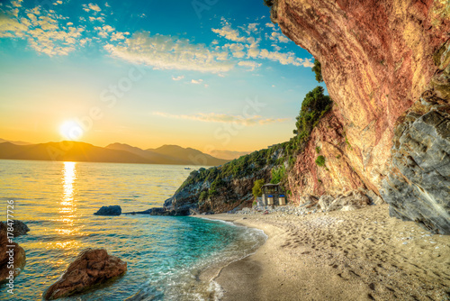Poster Orange Beautiful landscape in Corfu island, Beach and sea shore in summer holiday at sunrise in Greece
