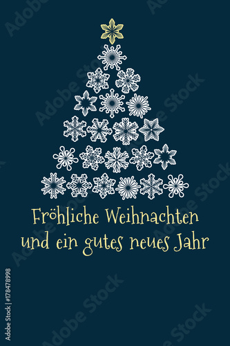 vector christmas tree created from snowflakes with german text merry christmas and happy new year