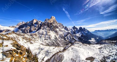 Plakat Panorama Dolomitów zimowych
