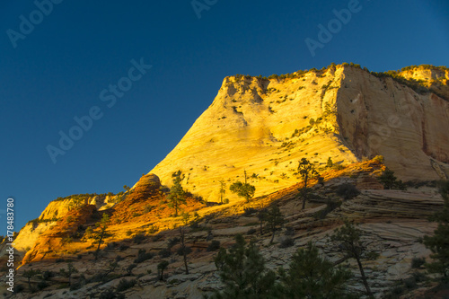 Night blue Layered Sandstone Cliffs of East Zion at the Sun Sets