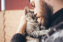 Cat And Man, Portrait Of Happy...