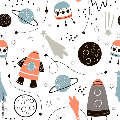 mata magnetyczna Childish seamless pattern with hand drawn space elements space, rocket, star, planet, space probe. Trendy kids vector background.