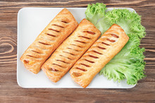 Plate With Tasty Sausage Rolls...