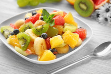 Plate With Delicious Fruit Sal...