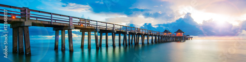 Aluminium Prints Beach Sunset panorama on the pier, Florida