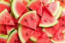Slices Of Ripe Watermelon As B...