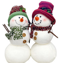Isolated Holiday Snowman And Woman Couple.