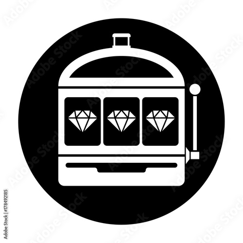 Diamond slot machine icon black and white vector illustration плакат