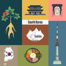 Set Of Korean National Symbols.