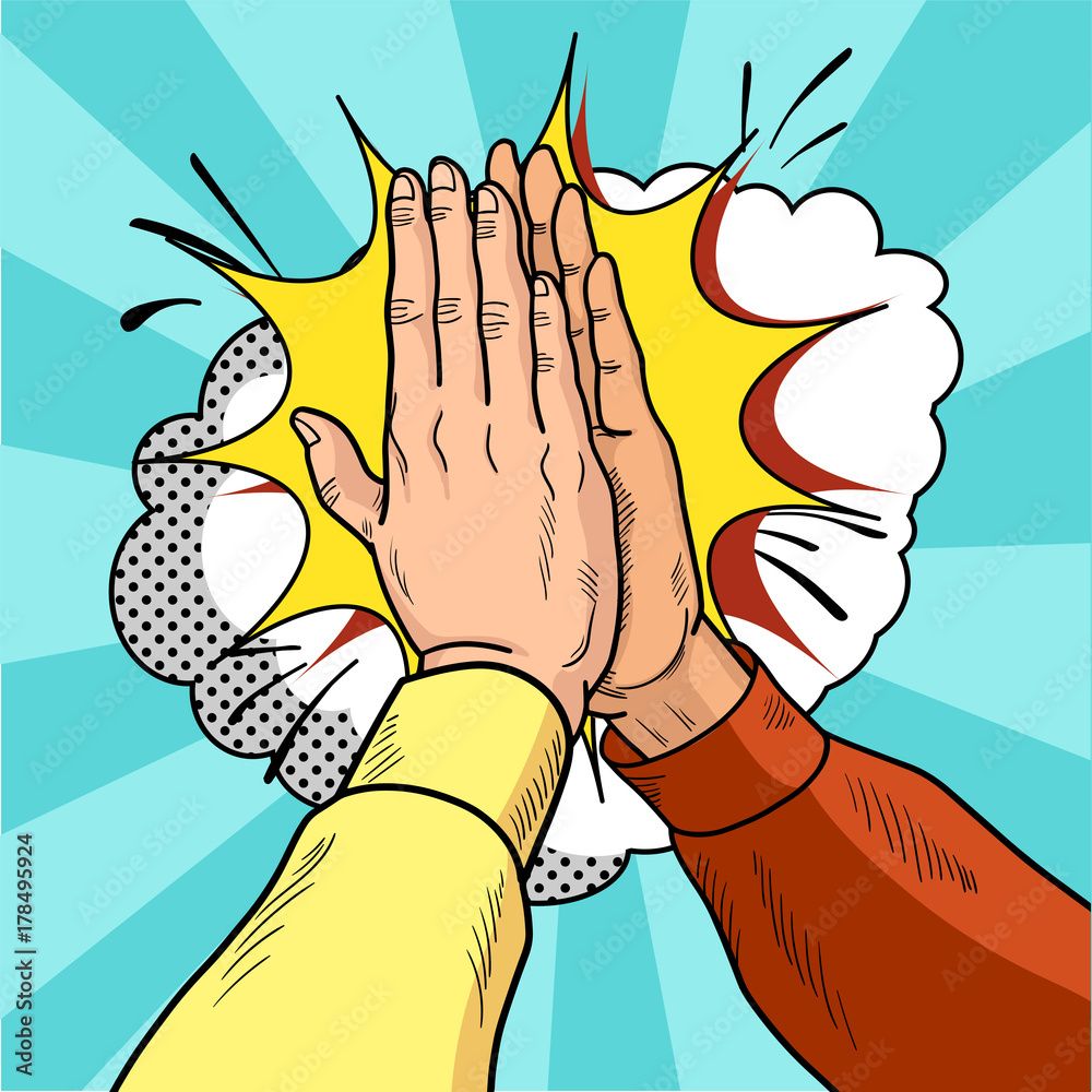 Fototapety, obrazy: Hands give five pop art. Male hands in a gesture of success. Yellow and red sweaters. Vintage cartoon retro vector illustration.