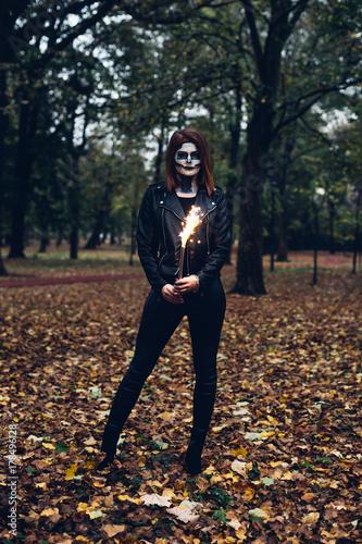 Woman Holding Sparkling Smoke Bomb Buy This Stock Photo