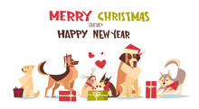 Cute Dogs In Santa Hats Isolated On White With Gift Boxes Merry Christmas And Happy New Year Poster Design Flat Vector Illustration