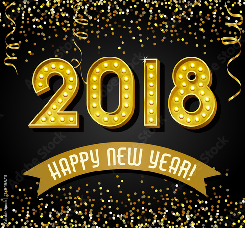 2018 Happy New Year design with golden light bulb letters, glitter and streamers Poster