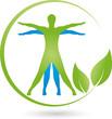 Mensch, Blätter, Heilpraktiker, Wellness, Logo