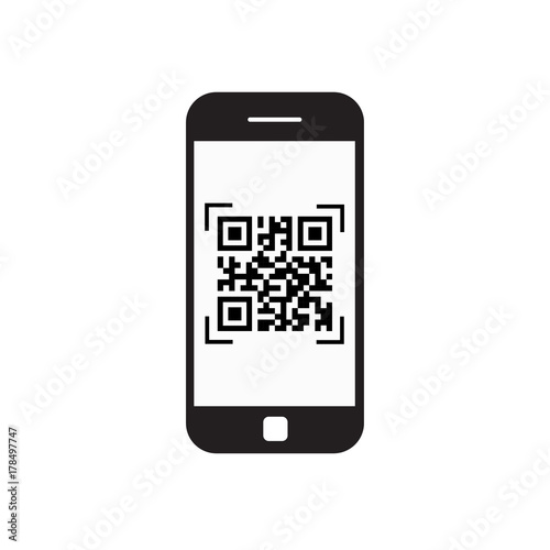 Fotografie, Obraz  Smart Phone Scanning Qr Code Icon Barcode Scan With Telephone Vector Illustratio