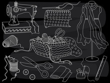 Vector Chalkboard Set With Sew...