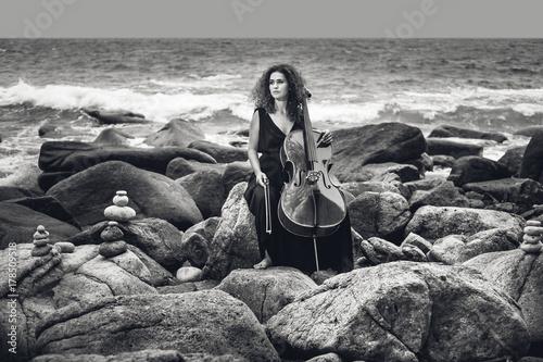 Plakat piękna młoda kobieta gra na wiolonczeli na kamienistej plaży w burzliwej pogody