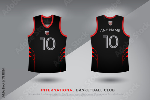Basketball T Shirt Design Uniform Set Of Kit Volleyball Jersey Template Black And Red Color Front Back View Mock Up