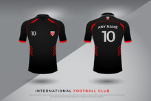 Soccer T-shirt Design Uniform Set Of Soccer Kit. Football Jersey Template For Football Club. Red And Black Color, Front And Back View Shirt Mock Up. Vector Illustration