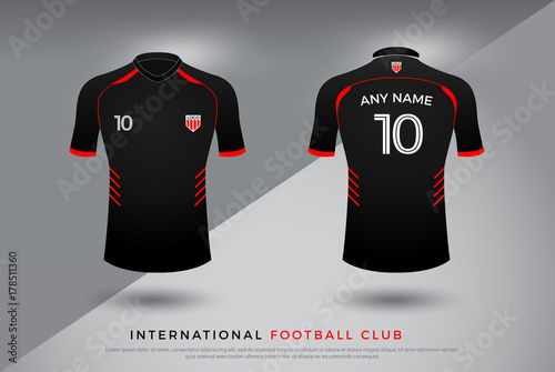 eadb06cb7 soccer t-shirt design uniform set of soccer kit. football jersey template  for football club. red and black color