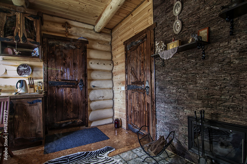Rustic Wooden Hallway With Two Old Style Doors In Vintage Cabin