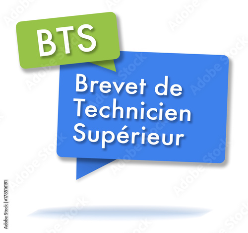 Photo  French BTS certificate initals in colored bubbles