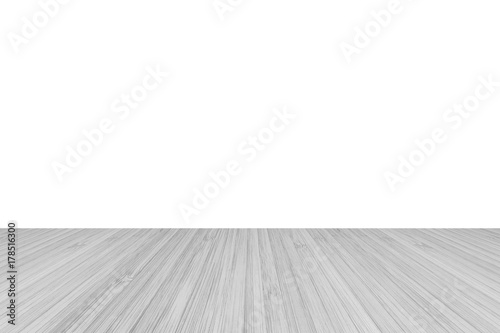 wood floor perspective view with wooden texture in light grey color isolated on white wall background wood e97 perspective