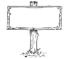 Empty Blank Sign Board Drawing