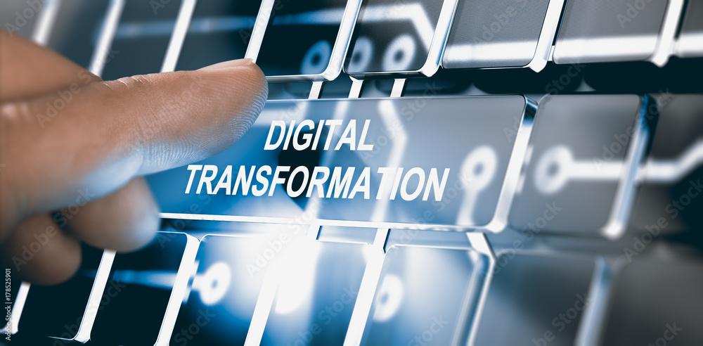 Fototapety, obrazy: Digitalization, Digital Transformation Concept
