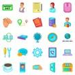 Ubiquitous globalization icons set, cartoon style