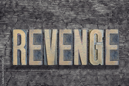 revenge word burned wood Fototapeta