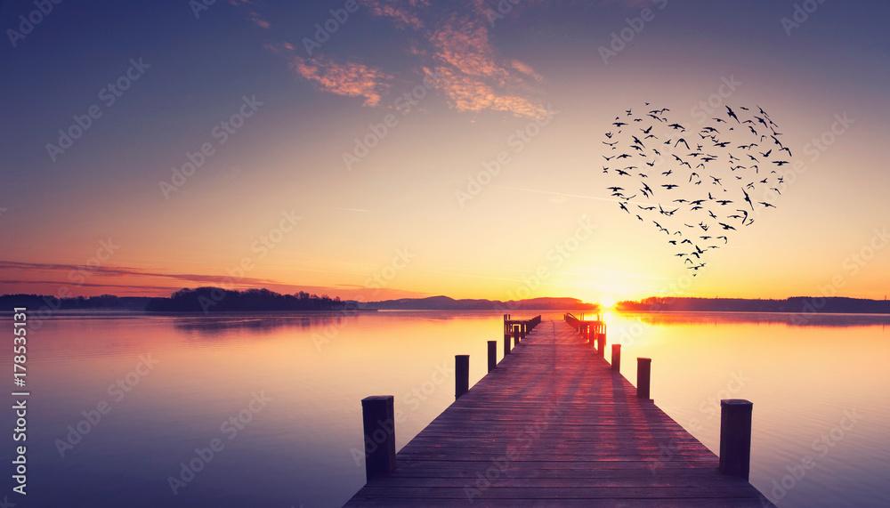 Fototapeta Steg mit Vogelschwarm in Herzform