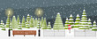 Cute vector winter background. Snowfall, fir trees in different shapes and forms, lanterns, snowman. Winter evening, snowfall, holiday theme. Outside park landscape.