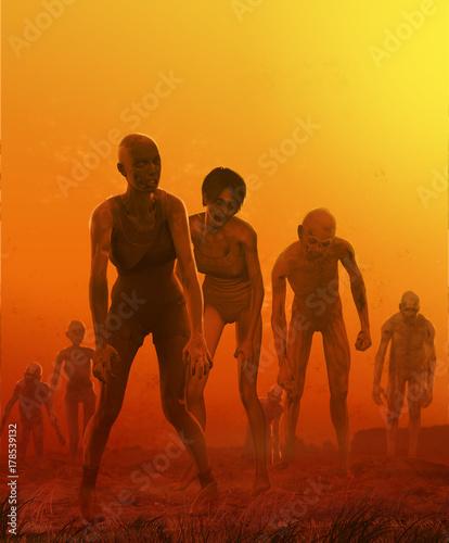 Cuadros en Lienzo Zombie Crowd Attack Concept