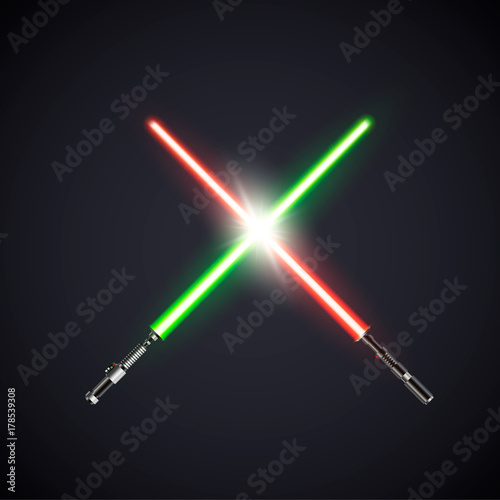 Photo  Two realistic light swords