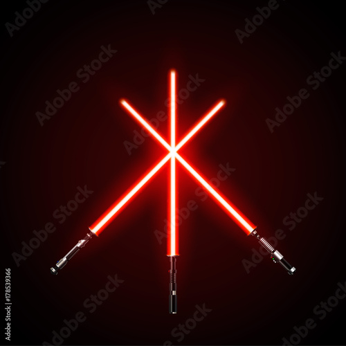 Photo  Red crossed light swords