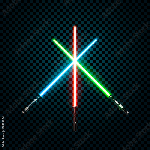 Obraz na plátně Set of realistic light swords