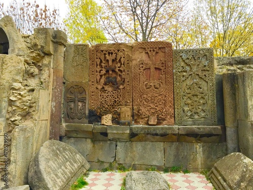Photo Kecharis Monastery, Armenia, Tsaghkadzor.   Row of khachkars.