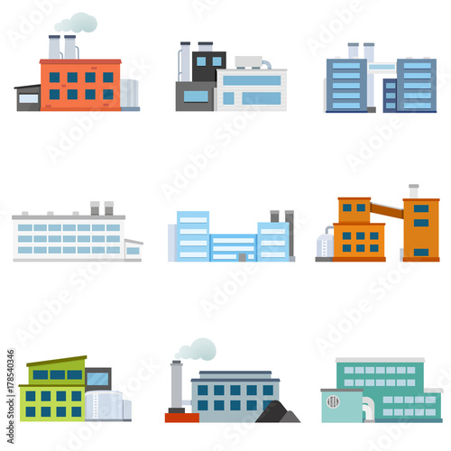 Set of factories Wallpaper Mural